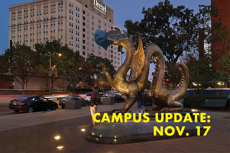 Dragon statue with the text campus update Nov. 17